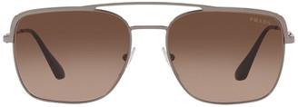 Prada Gunmetal Square Aviator Sunglasses