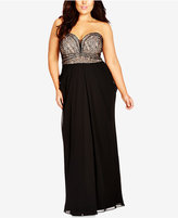 City Chic Plus Size Strapless Lace-Bodice Gown