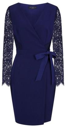 Dorothy Perkins Womens **Paper Dolls Navy Lace Wrap Midi Dress