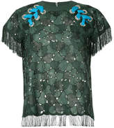 Sacai embroidered laced shoulder T-shirt