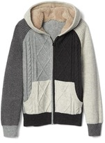 Gap Cable knit colorblock zip sweater