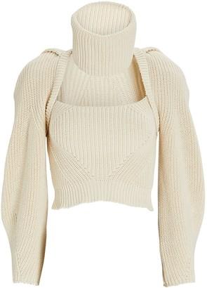 Sara Battaglia Turtleneck Cut-Out Cotton Sweater