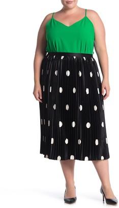 Pleione Polka Dot Pleated Midi Skirt (Plus Size)