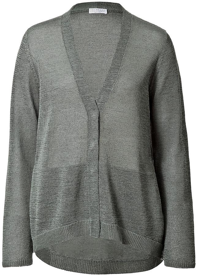 Brunello Cucinelli Cotton Draped Back Cardigan