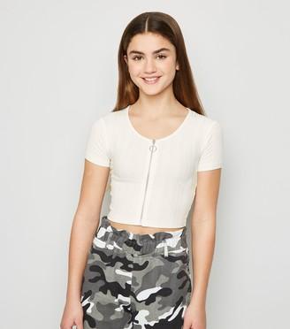 New Look Girls Ribbed Zip T-Shirt
