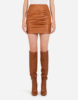 Dolce & Gabbana Leather Draped A-Line Miniskirt