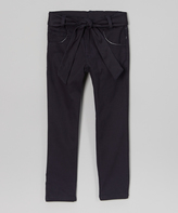 Beverly Hills Polo Club Navy Skinny Belted Pants - Girls
