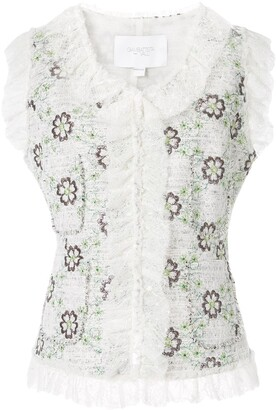 Giambattista Valli Embroidered Flowers Gilet