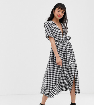 Glamorous Petite midi dress with pleated skirt and tie waist in gingham-Multi