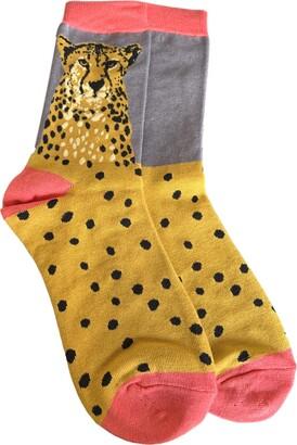 Purple Possum Socks Cheetah Big Cat Print Ladies Soft Bamboo Cotton Blend Teal Blue Grey mustard Yellow Leopard (Grey/Yellow)