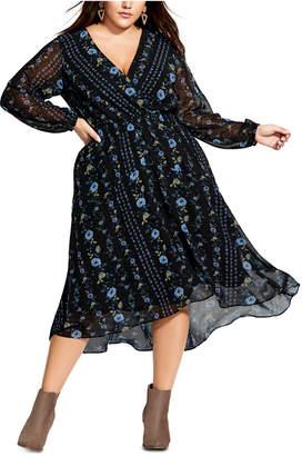 City Chic Trendy Plus Size Shadow Stripe Faux-Wrap Dress