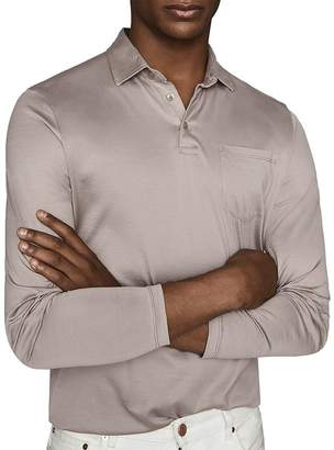 Reiss Robbie Mercerized Cotton Long-Sleeve Polo Shirt