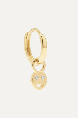 Alison Lou Tiny Smile Huggy 14-karat Gold Diamond Earring