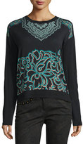 Etro Scroll-Paisley Crewneck Sweater, Turquoise/Black