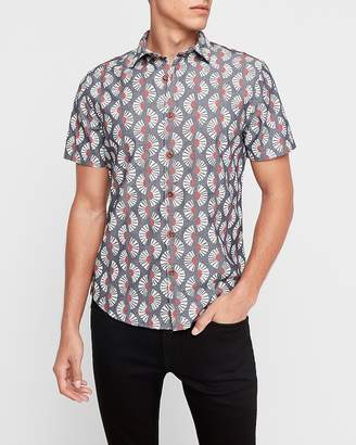 Express Slim Fan Print Chambray Shirt