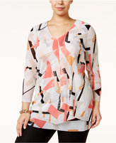 Alfani Plus Size Printed Overlay Top, Only at Macy's