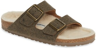 Birkenstock Arizona Slide Sandal with Faux Shearling