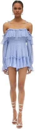 Alice McCall Ruffled Silk Blend Plumetis Mini Dress
