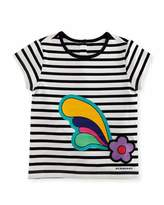 Burberry Cap-Sleeve Striped Flower Plume Jersey Tee, Multicolor, Size 12M-3