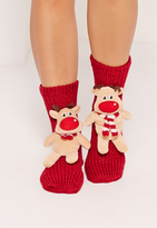 Missguided Reindeer Gift Socks Red