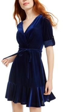 City Studios Juniors' Velvet Faux-Wrap Dress