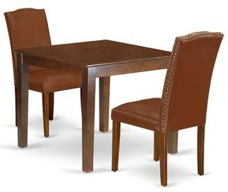 East West Furniture Oxen3-Mah-66 3Pc Dinette Set Includes A Square 36 Inch Dining Table And 2 Parson Chair With Mahogany Leg And Brown Faux Leather East West Furniture