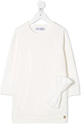 Simonetta Bow-Embellished Sweater Dress