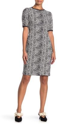 Taylor Elbow Sleeve Jacquard Knit Sheath Dress (Petite)