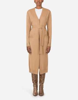 Dolce & Gabbana Long Woolen Cardigan With Belt