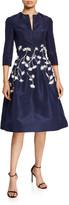 Oscar de la Renta Embroidered V-Neck Silk Satin Dress