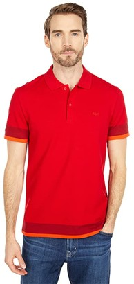 Lacoste Short Sleeve Semi Fancy with Animation Polo (Flour/Limestone/Abysm) Men's Clothing