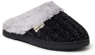 Dearfoams Chenille Knit Scuff Slippers with Fuzzy Cuff