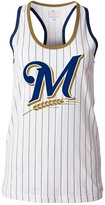 5th & Ocean Women's Milwaukee Brewers Pinstripe Glitter Tank Top