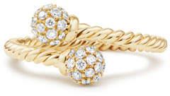 David Yurman 5.5mm Solari 18K Gold Bypass Ring with Diamonds, Size 5