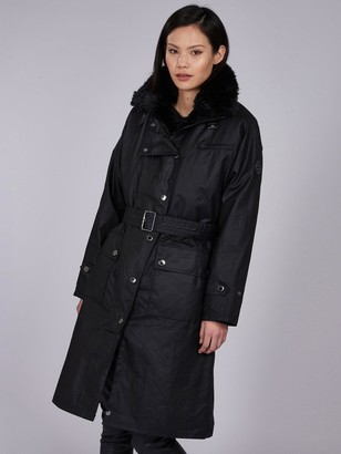 Barbour International Wipeout Oversized Belted Wax Coat - Black