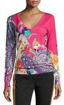Etro Floral Paisley Silk-Cashmere V-Neck Sweater, Pink