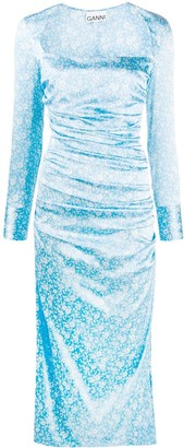 Ganni Floral Long-Sleeve Midi Dress
