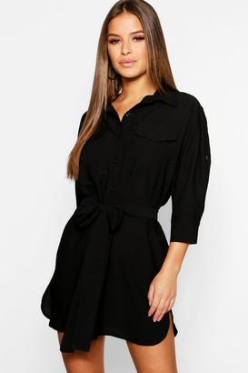 boohoo Petite Utility Shirt Dress