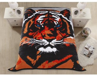 Hig Premium Heavy Blanket Tiger Head with Double Layers Reversible Plush Raschel Blanket Reactive Print - Supersoft, Warm, Silky, Hypoallergenic, Fade resistant in Queen Size
