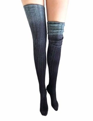 Huyghdfb Womens Gradient Socks Over The Knee Cotton Long Tube Stockings Thigh High Long Boot Socks (Gray One Size)