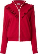RED Valentino ruffled zipped sweatshirt