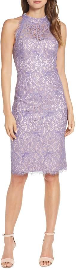 Eliza J Lace Halter Neck Sheath Dress