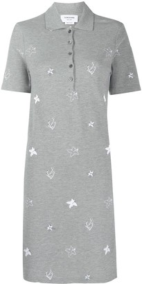 Thom Browne Embroidered Short-Sleeve Polo Dress