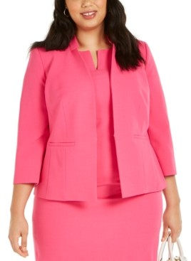 Kasper Plus Size Inverted Collar Blazer