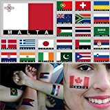 Temporary Body Face Country Flag Tattoo Stickers Water Transfer Party Tattoos (Malta)