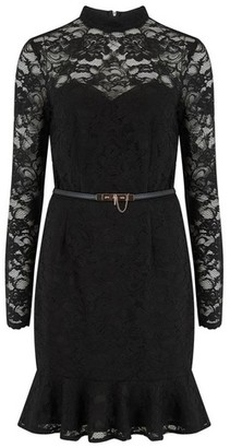 Dorothy Perkins Womens Paper Dolls Black Lace Belted Bodycon Dress, Black