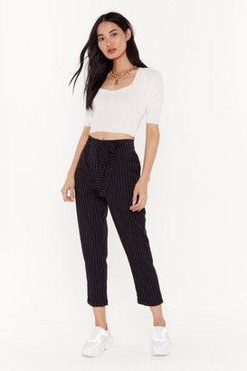 Nasty Gal Womens In Less Than No Line Pinstripe High-Waisted Trousers - Black - 6