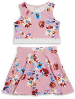Us Angels Girls 7-16 Girls Floral Crop Top and Skirt Set