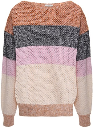 Joie Color-block Open-knit Cotton-blend Sweater