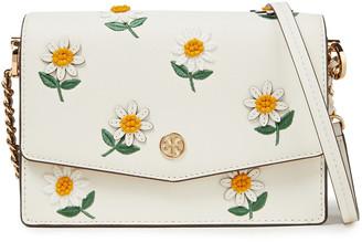 Tory Burch Floral-appliqued Textured-leather Shoulder Bag